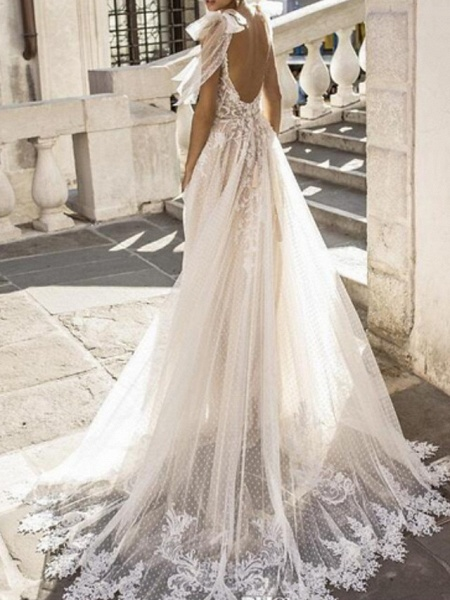 A-Line Wedding Dresses V Neck Sweep \ Brush Train Lace Spaghetti Strap_2