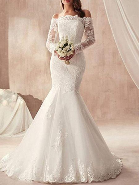 Mermaid \ Trumpet Wedding Dresses Off Shoulder Sweep \ Brush Train Tulle Regular Straps Illusion Sleeve_1