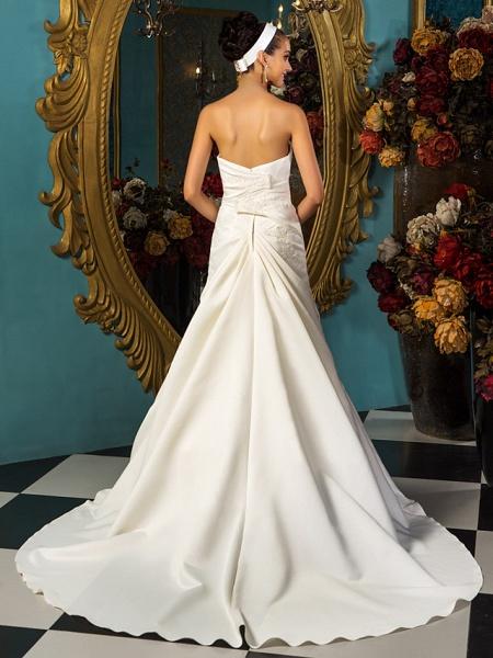 A-Line Wedding Dresses Strapless Court Train Satin Sleeveless_9