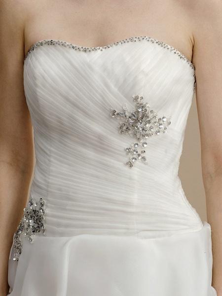 A-Line Wedding Dresses Strapless Asymmetrical Organza Sleeveless Open Back_6