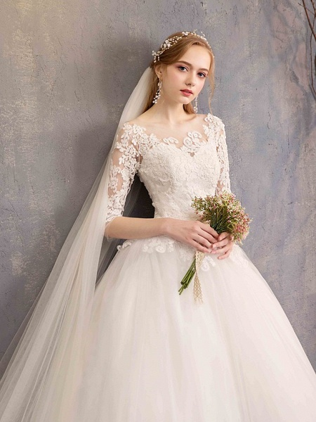 Ball Gown Wedding Dresses Bateau Neck Maxi Lace Tulle Half Sleeve Glamorous Illusion Sleeve_11