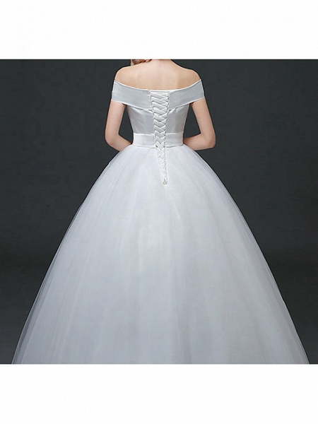 Ball Gown Wedding Dresses Off Shoulder Floor Length Lace Tulle Polyester Cap Sleeve Formal_5