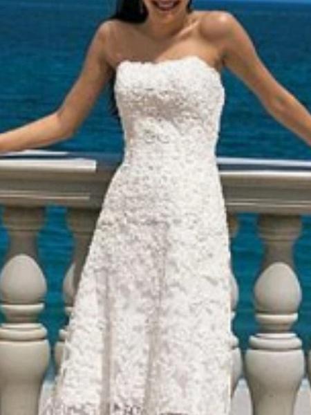A-Line Wedding Dresses Strapless Asymmetrical Lace Strapless Beach Illusion Detail_2