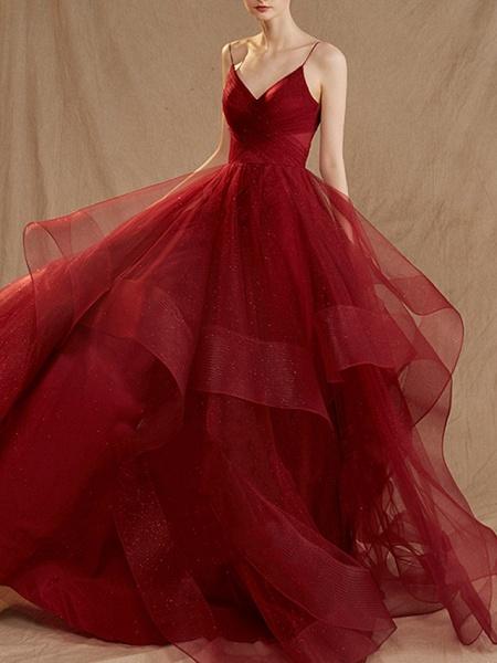 A-Line Wedding Dresses V Neck Floor Length Tulle Sleeveless Romantic Plus Size Red_2