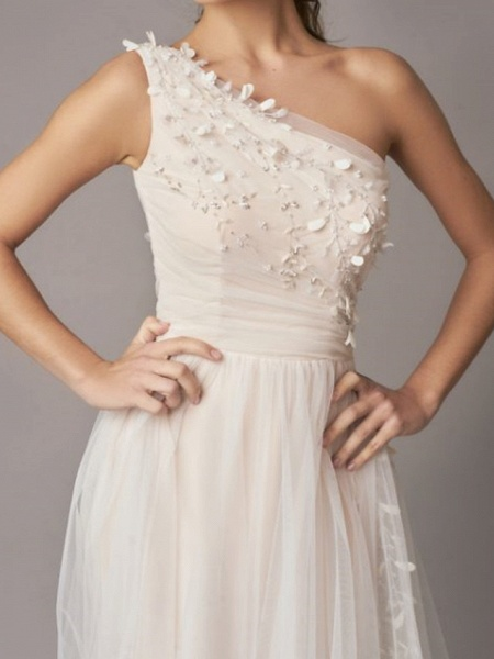 A-Line Wedding Dresses One Shoulder Sweep \ Brush Train Tulle Sleeveless Country Backless_5