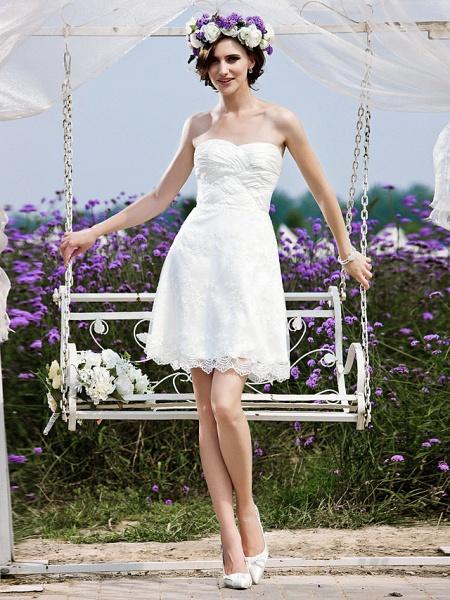 Princess A-Line Wedding Dresses Strapless Short \ Mini Chiffon Lace Sleeveless Little White Dress_1