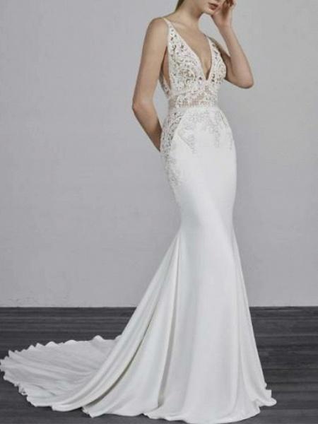 Mermaid \ Trumpet Wedding Dresses V Neck Court Train Satin Spaghetti Strap_1