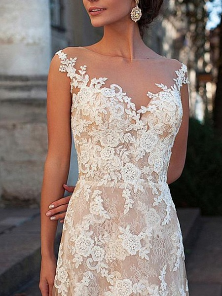 A-Line Jewel Neck Sweep \ Brush Train Lace Tulle Cap Sleeve Sexy See-Through Backless Wedding Dresses_3