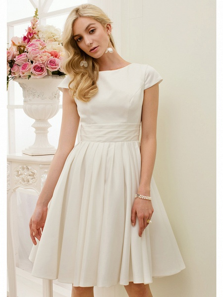 A-Line Wedding Dresses Jewel Neck Knee Length Satin Short Sleeve Formal Simple Casual Little White Dress_5