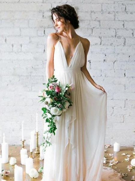 Spaghetti Straps V-neck A-line Sexy Backless Floor Length Wedding Dresses_1