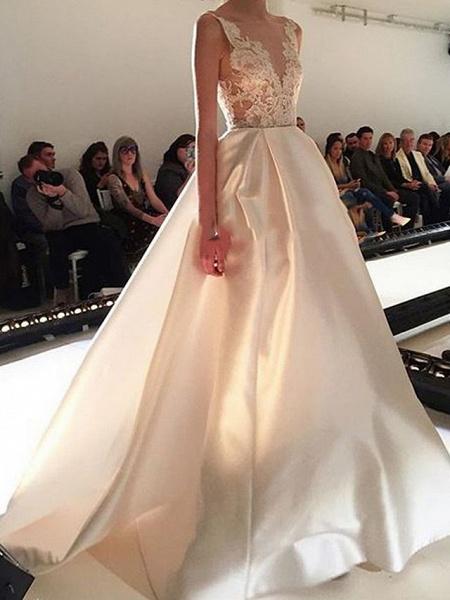 A-Line V Neck Sweep \ Brush Train Lace Tulle Regular Straps Formal Plus Size Wedding Dresses_2