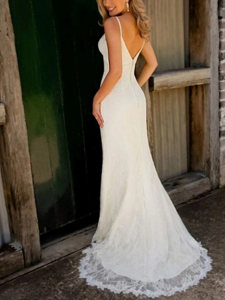 Mermaid \ Trumpet Wedding Dresses V Neck Sweep \ Brush Train Lace Satin Spaghetti Strap Plus Size_2