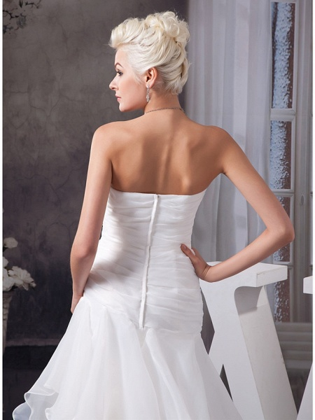 A-Line Sweetheart Neckline Floor Length Lace Organza Satin Strapless Wedding Dresses_5