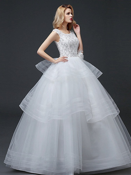 Ball Gown Wedding Dresses Scoop Neck Floor Length Lace Tulle Polyester Cap Sleeve Romantic_3