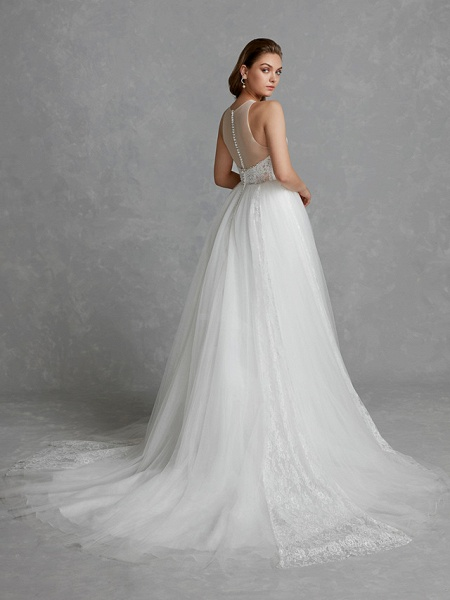 A-Line Wedding Dresses Jewel Neck Court Train Lace Tulle Regular Straps Glamorous See-Through Backless_2