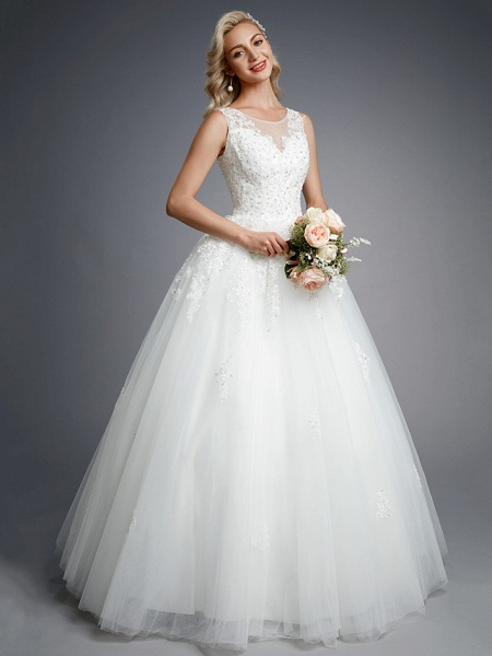Ball Gown Wedding Dresses Jewel Neck Floor Length Lace Tulle Regular Straps Formal Casual Illusion Detail Backless_6