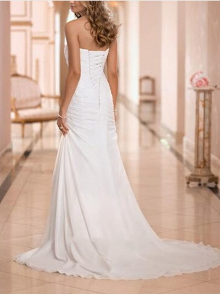 Sheath \ Column Wedding Dresses Strapless Sweep \ Brush Train Tulle Strapless Formal Plus Size_2