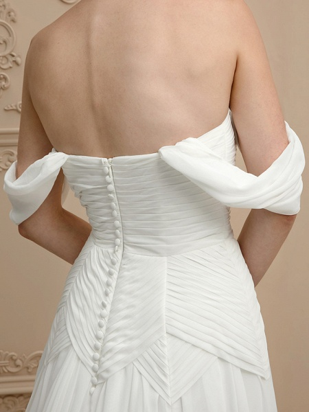 Princess A-Line Wedding Dresses Strapless Cathedral Train Chiffon Sleeveless Open Back_7