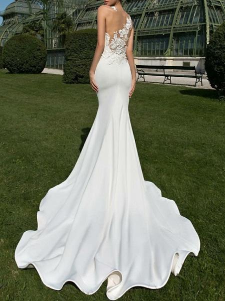 Mermaid \ Trumpet Wedding Dresses Jewel Neck Court Train Satin Regular Straps Country Sexy Illusion Detail Backless_3