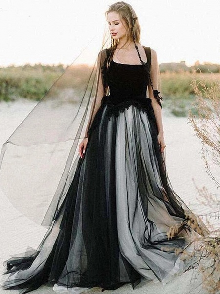 A-Line Wedding Dresses Scoop Neck Sweep \ Brush Train Lace Tulle Sleeveless Sexy Plus Size Black Modern_2