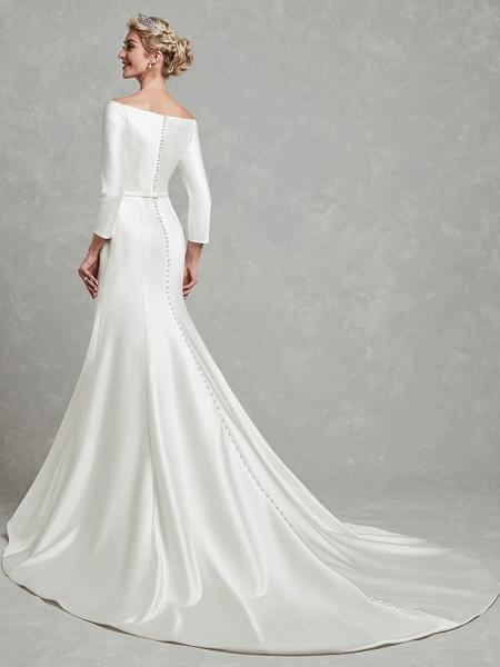 Mermaid \ Trumpet Wedding Dresses Bateau Neck Chapel Train Satin Long Sleeve Formal Little White Dress_2