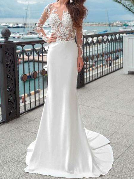Mermaid \ Trumpet Wedding Dresses Jewel Neck Sweep \ Brush Train Lace Polyester Long Sleeve Country Plus Size_1