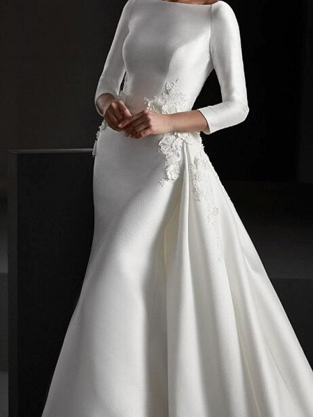 A-Line Wedding Dresses Jewel Neck Sweep \ Brush Train Stretch Satin Long Sleeve Country Plus Size_3