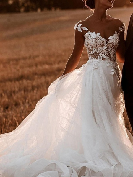 A-Line Wedding Dresses Jewel Neck Sweep \ Brush Train Lace Tulle Short Sleeve Sexy See-Through_2