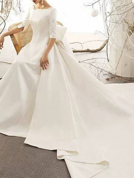 A-Line Bateau Neck Court Train Polyester Half Sleeve Vintage Sexy Wedding Dresses_3