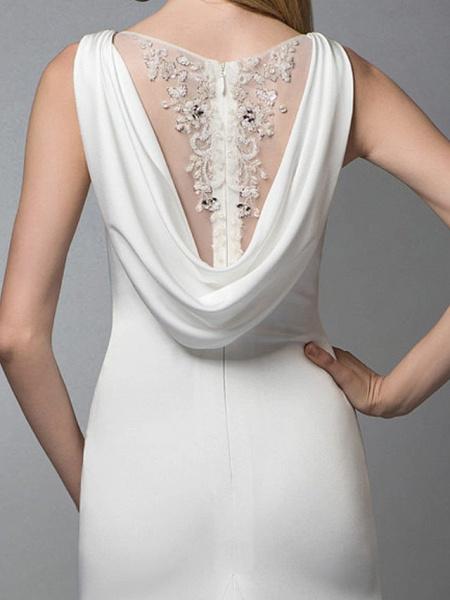 Mermaid \ Trumpet Wedding Dresses Jewel Neck Sweep \ Brush Train Spandex Lace Sleeveless Simple_4