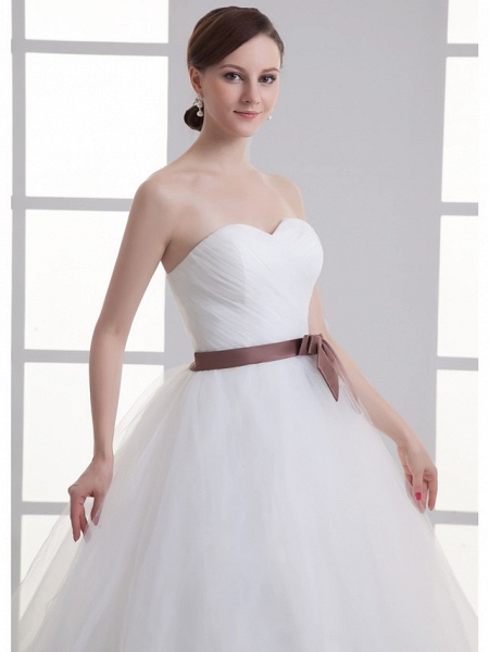 A-Line Wedding Dresses Sweetheart Neckline Court Train Lace Satin Tulle Strapless_5