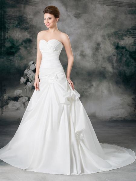 A-Line Sweetheart Neckline Court Train Satin Taffeta Strapless Wedding Dresses_2