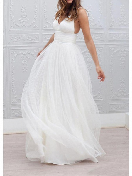 A-Line Wedding Dresses Spaghetti Strap Plunging Neck Floor Length Taffeta Tulle Chiffon Over Satin Sleeveless Country Plus Size_1