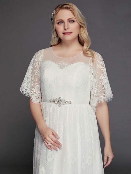 A-Line Wedding Dresses Illusion Neck Jewel Neck Floor Length Lace Tulle Half Sleeve Formal Boho Little White Dress See-Through_8