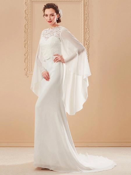Sheath \ Column Wedding Dresses Jewel Neck Sweep \ Brush Train Lace Georgette Long Sleeve Beach Illusion Detail Backless_9