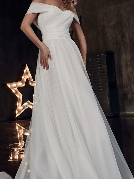 A-Line Wedding Dresses Off Shoulder Sweep \ Brush Train Tulle Short Sleeve Country Plus Size_3