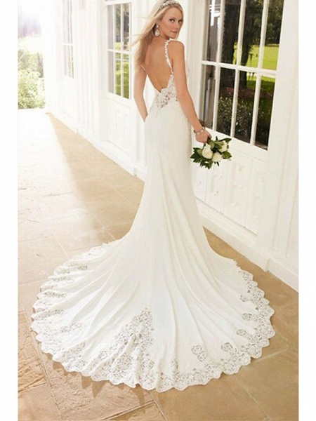Mermaid \ Trumpet Wedding Dresses V Neck Chapel Train Lace Stretch Satin Spaghetti Strap See-Through Beautiful Back_4