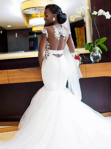 Mermaid \ Trumpet Wedding Dresses V Neck Chapel Train Lace Tulle Lace Over Satin Regular Straps Sexy Backless_2