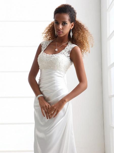 Sheath \ Column Wedding Dresses Scoop Neck Sweep \ Brush Train Charmeuse Beaded Lace Cap Sleeve Simple Backless_3