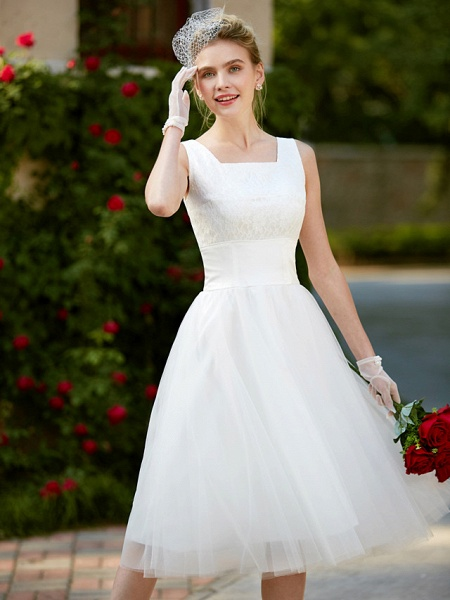 A-Line Wedding Dresses Square Neck Knee Length Lace Tulle Regular Straps Simple Casual Vintage Plus Size Cute_10