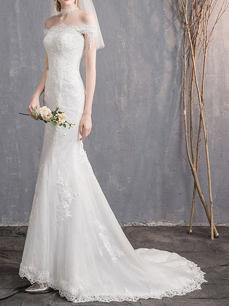Mermaid \ Trumpet Wedding Dresses Off Shoulder Sweep \ Brush Train Lace Tulle Sleeveless Country Plus Size Backless_2