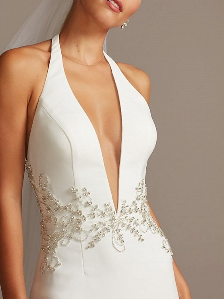 Mermaid \ Trumpet Wedding Dresses Halter Neck Plunging Neck Sweep \ Brush Train Polyester Sleeveless Country Plus Size_4
