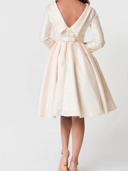 A-Line Wedding Dresses High Neck Knee Length Satin Long Sleeve Casual Little White Dress_2
