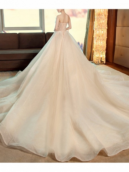 A-Line Strapless Chapel Train Polyester Strapless Wedding Dresses_4