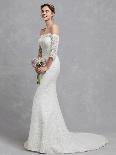 Mermaid \ Trumpet Wedding Dresses Off Shoulder Court Train Lace 3\4 Length Sleeve Cutouts_3