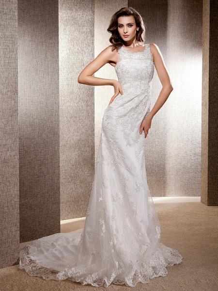 Mermaid \ Trumpet Wedding Dresses Scoop Neck Sweep \ Brush Train Lace Tulle Sleeveless_8