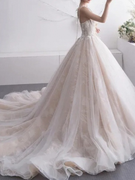A-Line Wedding Dresses Sweetheart Neckline Court Train Lace Tulle Charmeuse Spaghetti Strap Formal Plus Size_2