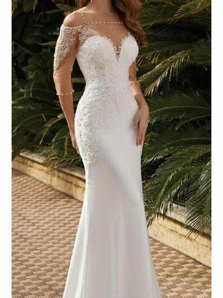 Mermaid \ Trumpet Wedding Dresses Square Neck Sweep \ Brush Train Lace Satin Tulle Half Sleeve Sexy See-Through_2