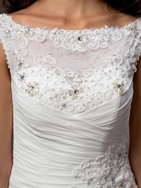Sheath \ Column Wedding Dresses Bateau Neck Court Train Chiffon Cap Sleeve_7