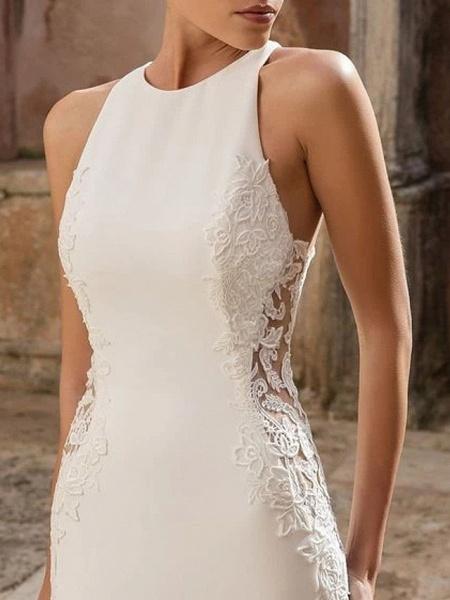 Mermaid \ Trumpet Wedding Dresses Jewel Neck Floor Length Polyester Sleeveless Country Illusion Detail_2